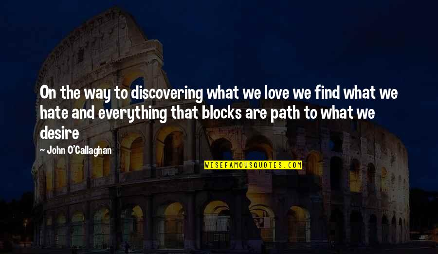 John O Callaghan Quotes By John O'Callaghan: On the way to discovering what we love