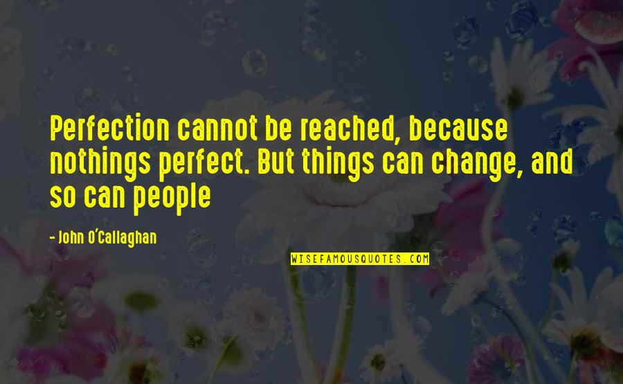 John O Callaghan Quotes By John O'Callaghan: Perfection cannot be reached, because nothings perfect. But