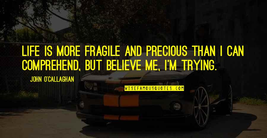 John O Callaghan Quotes By John O'Callaghan: Life is more fragile and precious than I