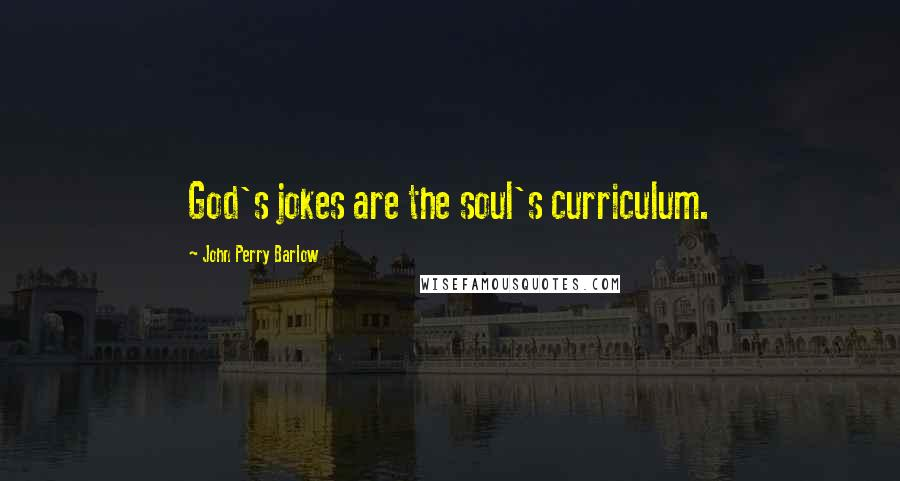 John Perry Barlow quotes: God's jokes are the soul's curriculum.