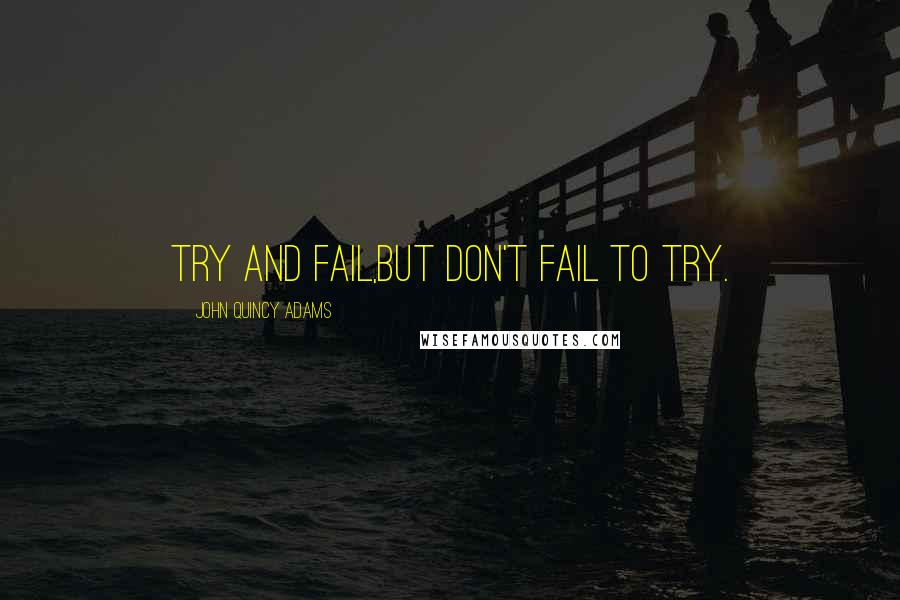 John Quincy Adams quotes: Try and fail,but don't fail to try.