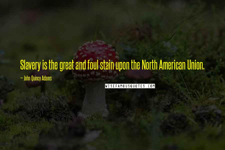 John Quincy Adams quotes: Slavery is the great and foul stain upon the North American Union.
