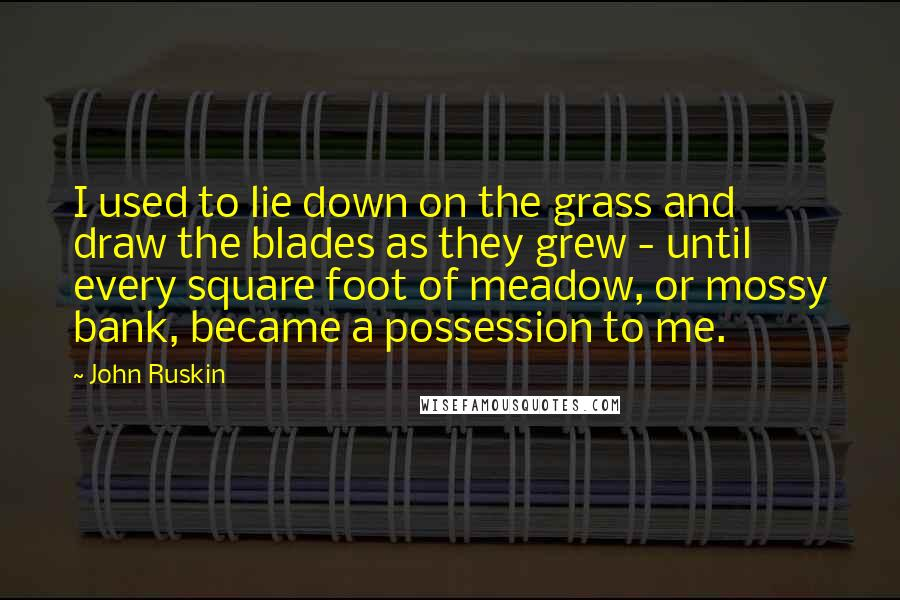 John Ruskin quotes: I used to lie down on the grass and draw the blades as they grew - until every square foot of meadow, or mossy bank, became a possession to me.