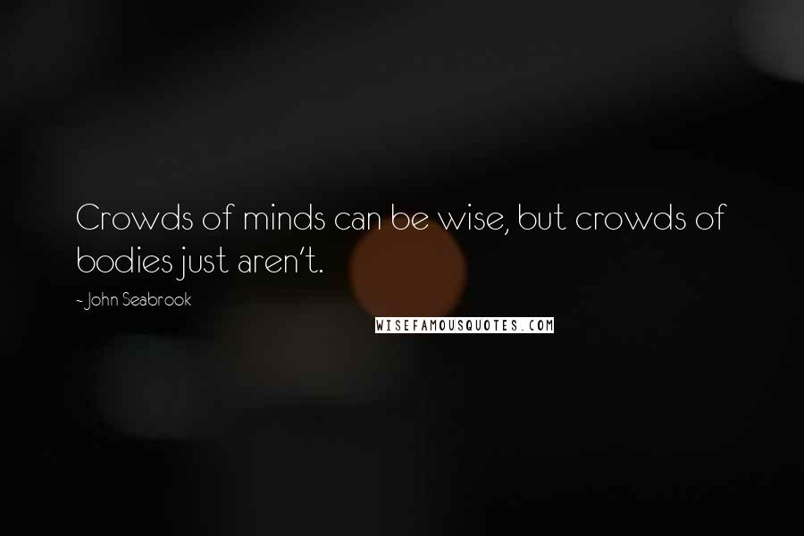 John Seabrook quotes: Crowds of minds can be wise, but crowds of bodies just aren't.
