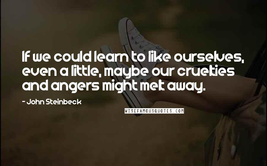 John Steinbeck quotes: If we could learn to like ourselves, even a little, maybe our cruelties and angers might melt away.