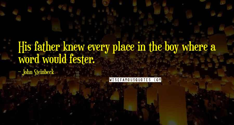 John Steinbeck quotes: His father knew every place in the boy where a word would fester.