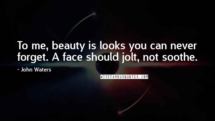 John Waters quotes: To me, beauty is looks you can never forget. A face should jolt, not soothe.