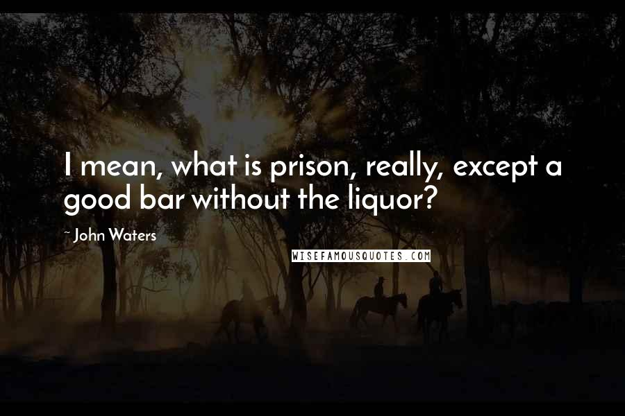 John Waters quotes: I mean, what is prison, really, except a good bar without the liquor?