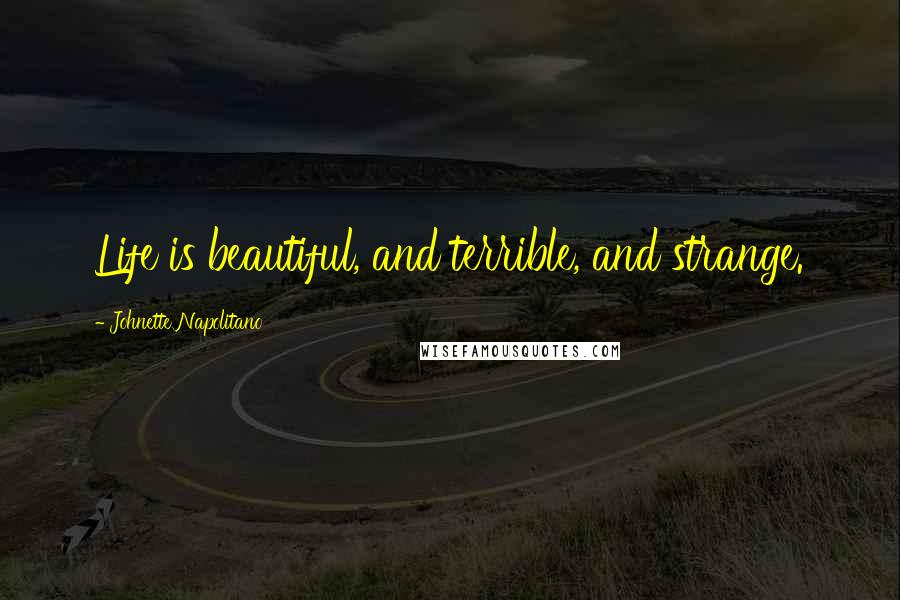 Johnette Napolitano quotes: Life is beautiful, and terrible, and strange.
