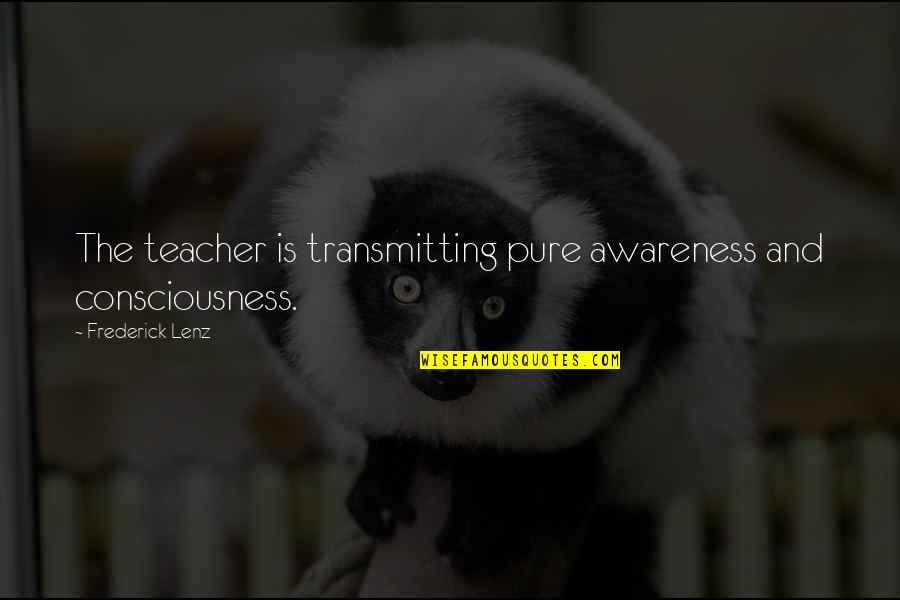 Johnny Flynn Quotes By Frederick Lenz: The teacher is transmitting pure awareness and consciousness.