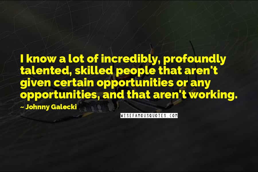 Johnny Galecki quotes: I know a lot of incredibly, profoundly talented, skilled people that aren't given certain opportunities or any opportunities, and that aren't working.