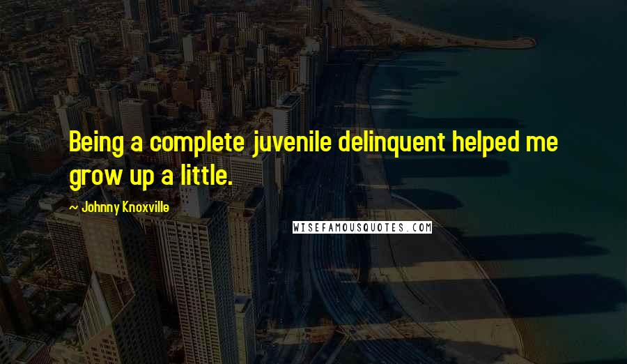 Johnny Knoxville quotes: Being a complete juvenile delinquent helped me grow up a little.