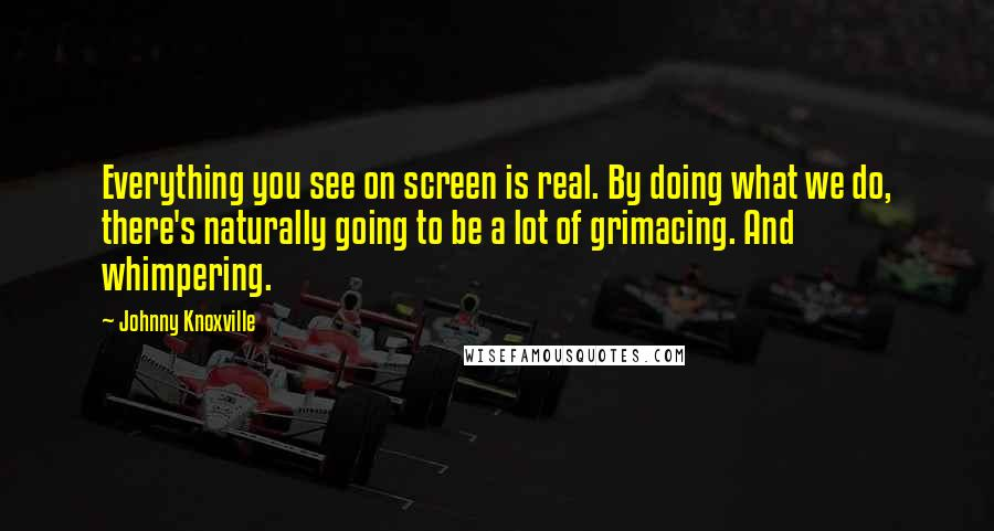 Johnny Knoxville quotes: Everything you see on screen is real. By doing what we do, there's naturally going to be a lot of grimacing. And whimpering.