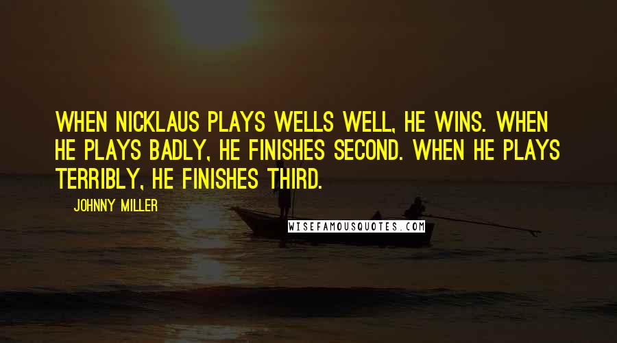Johnny Miller quotes: When Nicklaus plays wells well, he wins. When he plays badly, he finishes second. When he plays terribly, he finishes third.