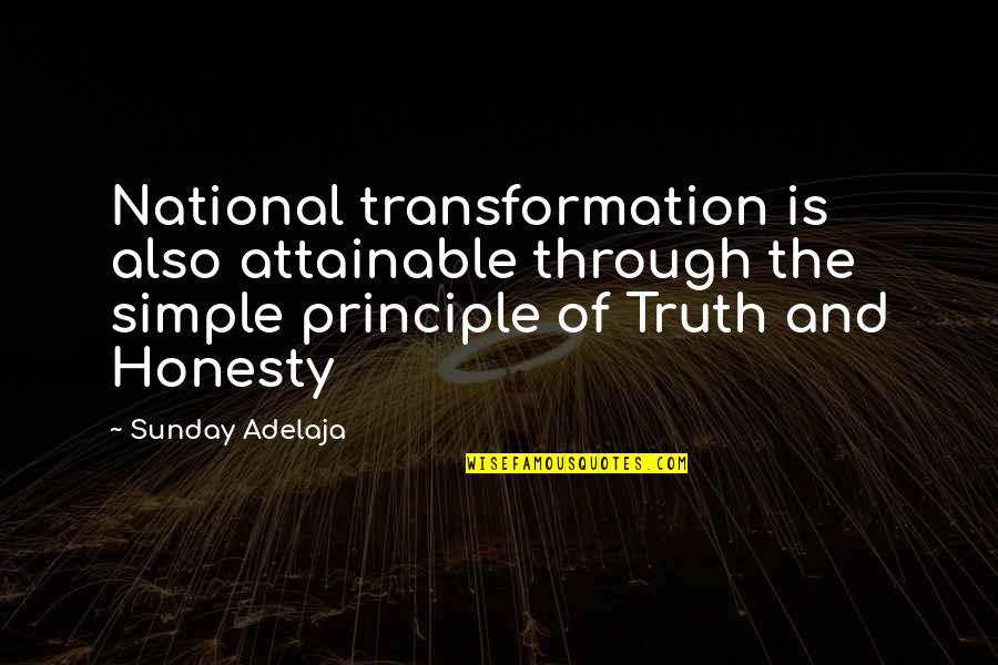 Joining Gym Quotes By Sunday Adelaja: National transformation is also attainable through the simple
