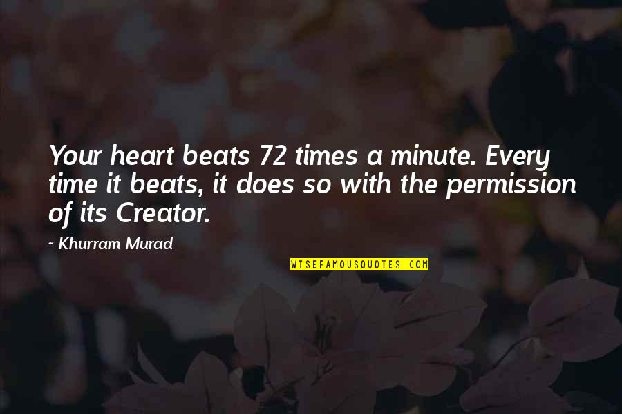 Jon Gooch Quotes By Khurram Murad: Your heart beats 72 times a minute. Every