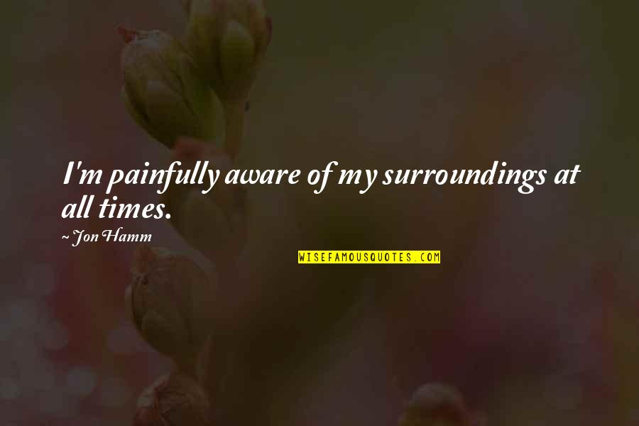 Jon Hamm Quotes By Jon Hamm: I'm painfully aware of my surroundings at all
