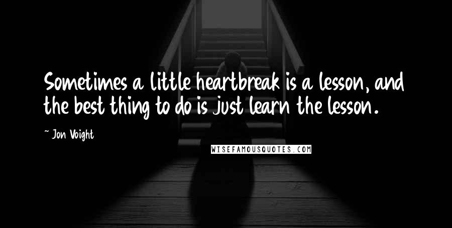 Jon Voight quotes: Sometimes a little heartbreak is a lesson, and the best thing to do is just learn the lesson.