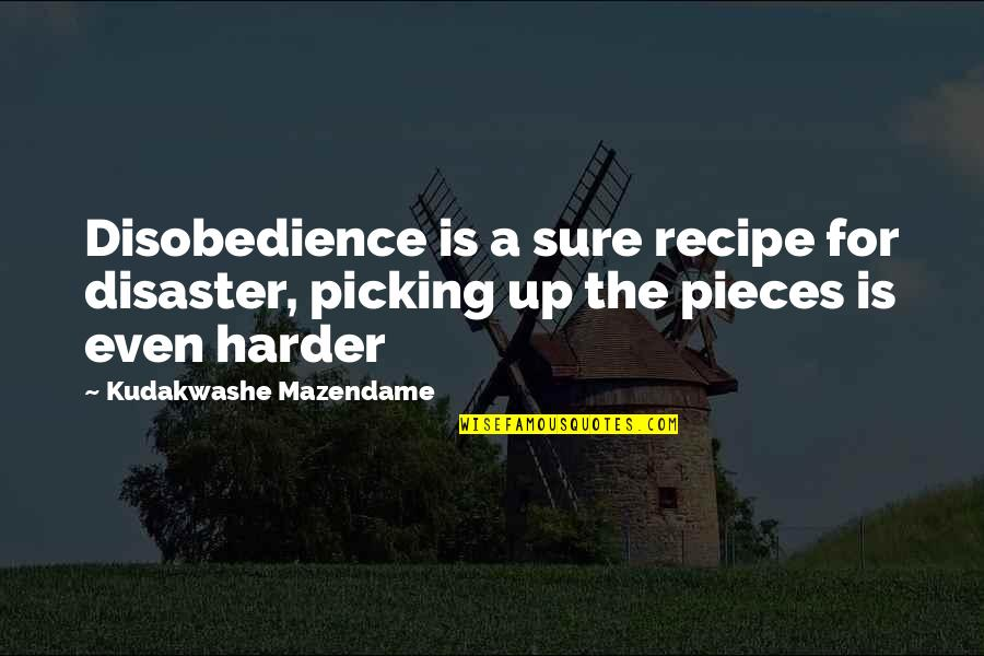 Jonah And The Whale Quotes By Kudakwashe Mazendame: Disobedience is a sure recipe for disaster, picking