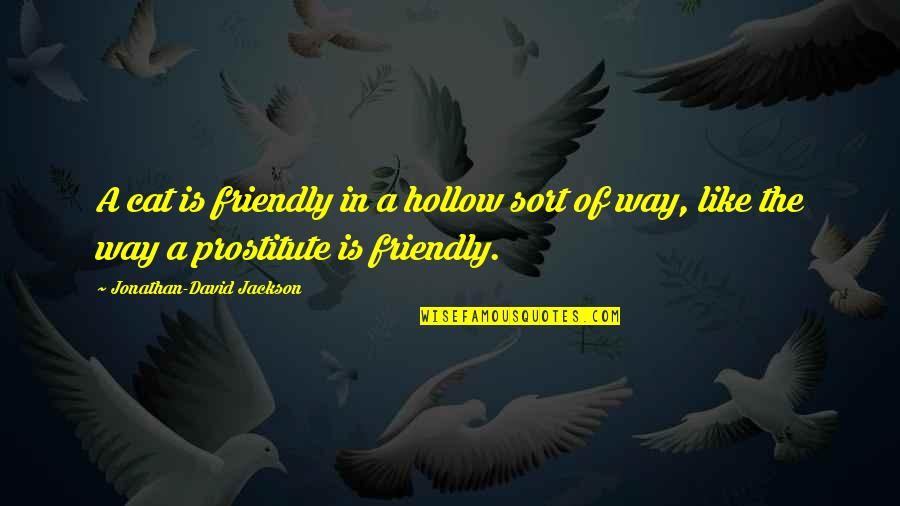 Jonathan And David Quotes By Jonathan-David Jackson: A cat is friendly in a hollow sort