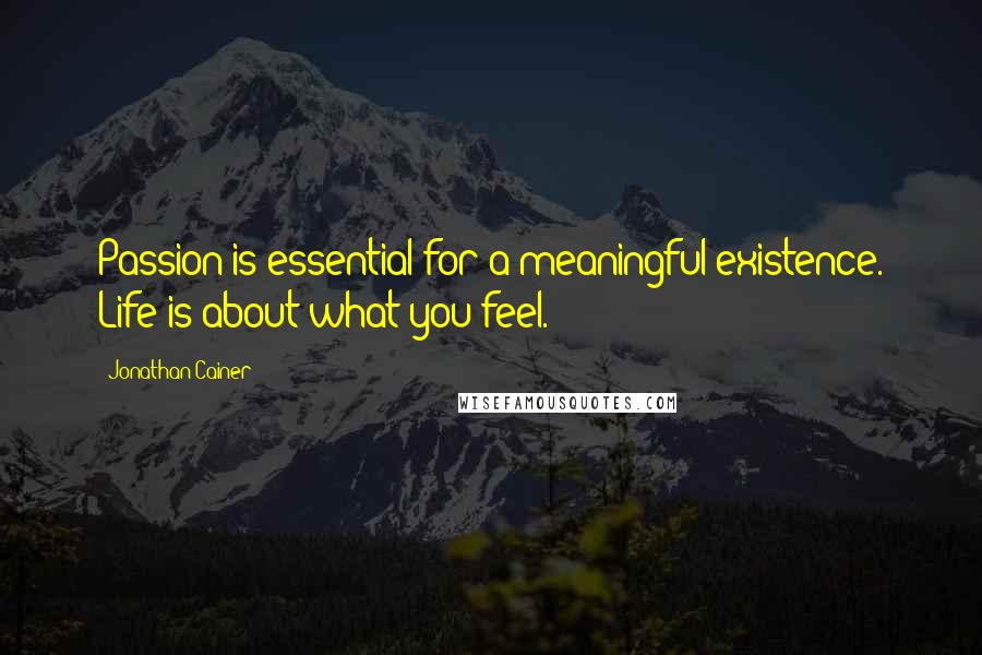 Jonathan Cainer quotes: Passion is essential for a meaningful existence. Life is about what you feel.