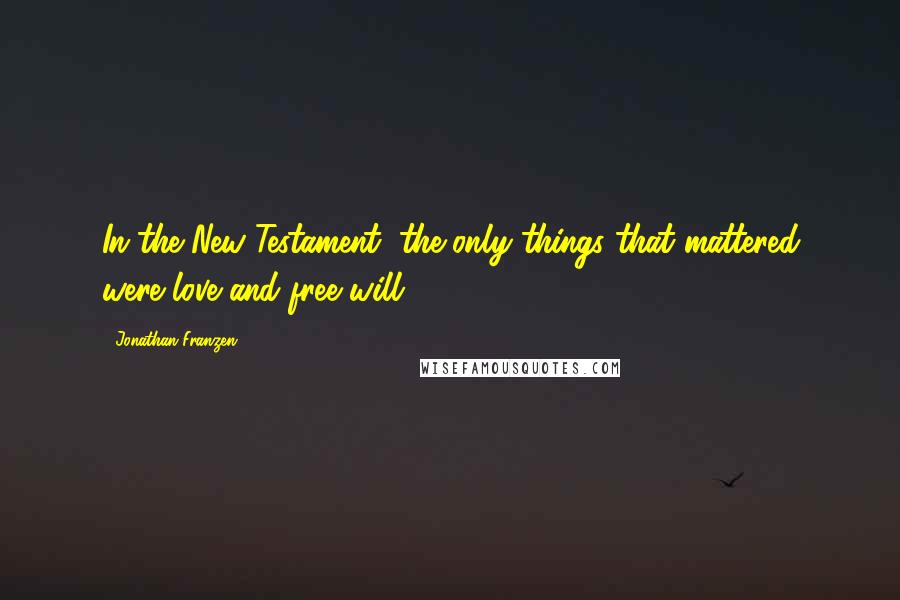 Jonathan Franzen quotes: In the New Testament, the only things that mattered were love and free will.