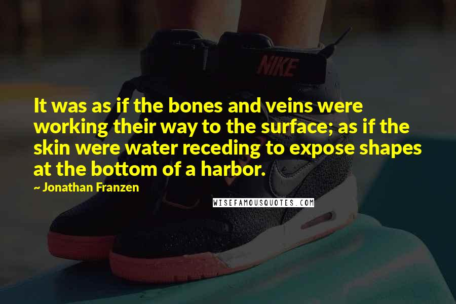 Jonathan Franzen quotes: It was as if the bones and veins were working their way to the surface; as if the skin were water receding to expose shapes at the bottom of a