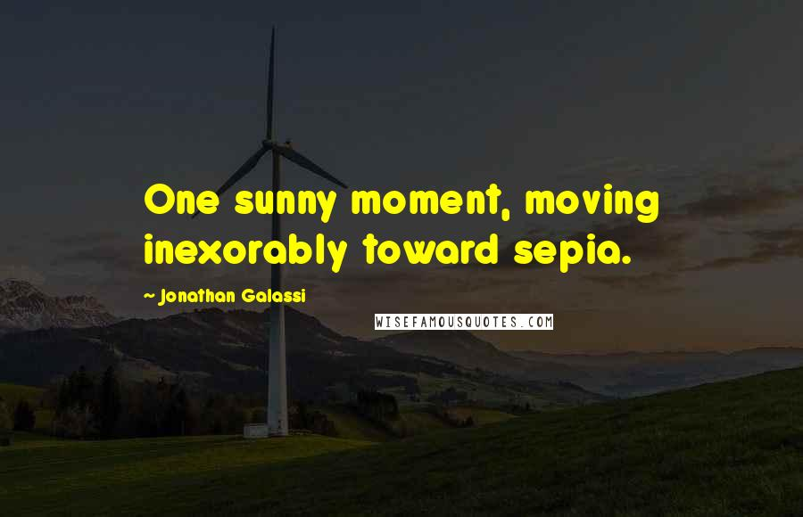 Jonathan Galassi quotes: One sunny moment, moving inexorably toward sepia.