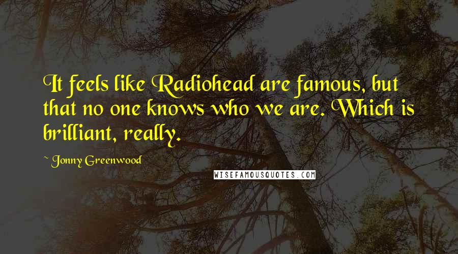 Jonny Greenwood quotes: It feels like Radiohead are famous, but that no one knows who we are. Which is brilliant, really.