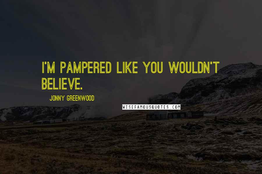 Jonny Greenwood quotes: I'm pampered like you wouldn't believe.