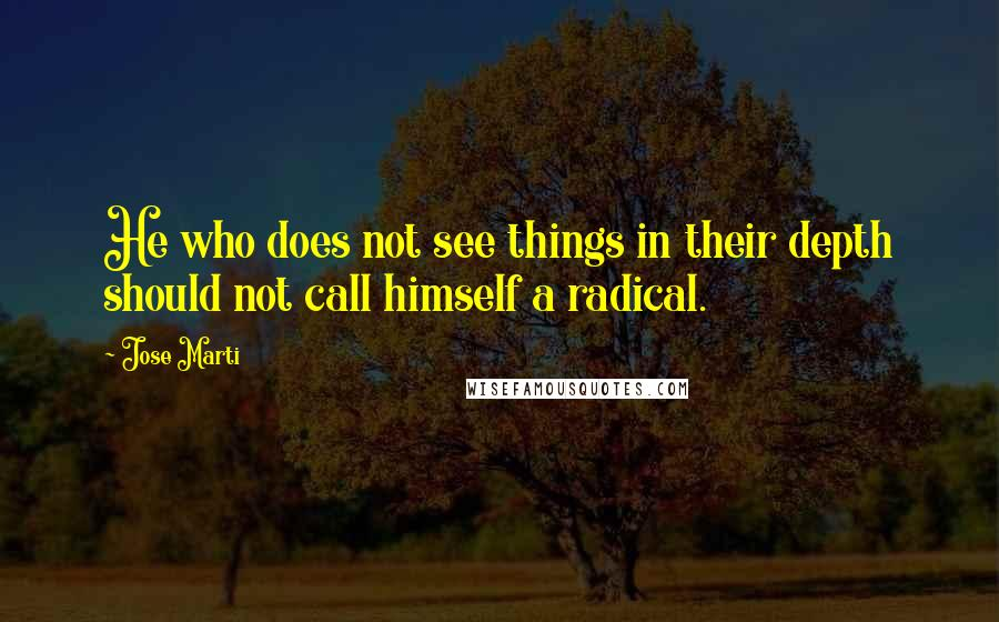 Jose Marti quotes: He who does not see things in their depth should not call himself a radical.