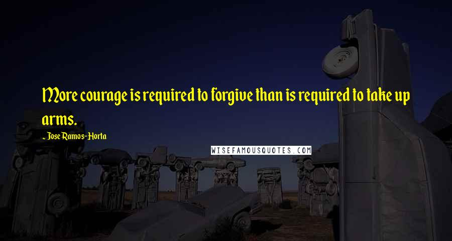 Jose Ramos-Horta quotes: More courage is required to forgive than is required to take up arms.