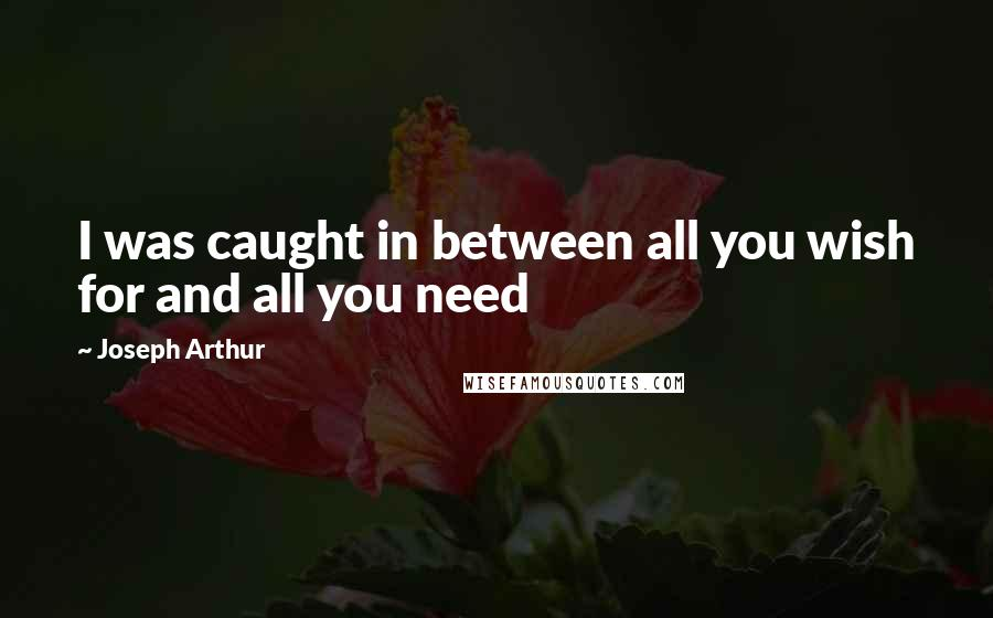 Joseph Arthur quotes: I was caught in between all you wish for and all you need