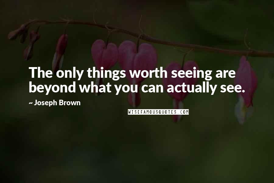 Joseph Brown quotes: The only things worth seeing are beyond what you can actually see.