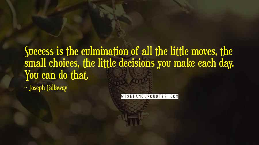 Joseph Callaway quotes: Success is the culmination of all the little moves, the small choices, the little decisions you make each day. You can do that.