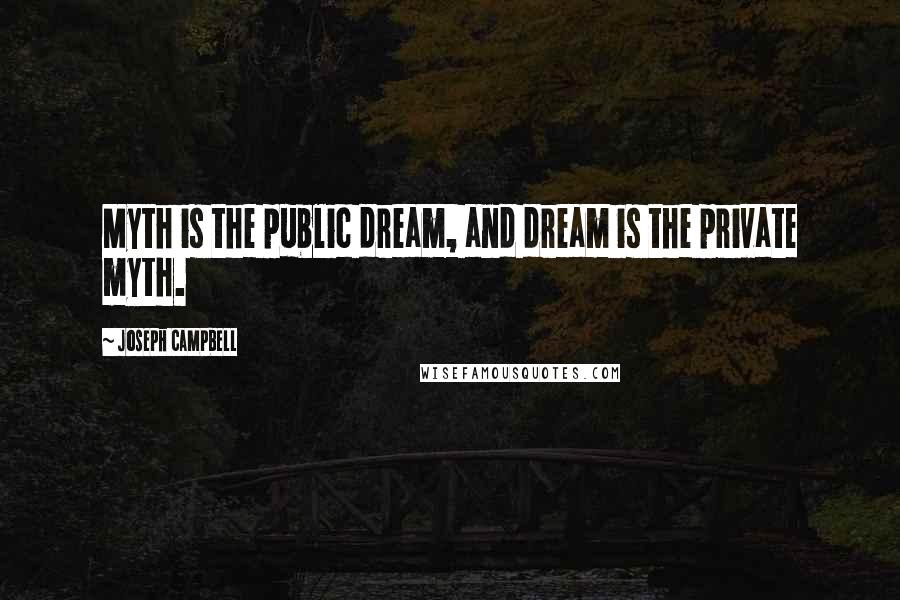 Joseph Campbell quotes: Myth is the public dream, and dream is the private myth.