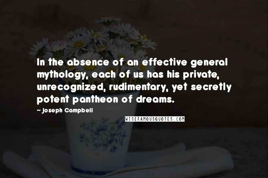 Joseph Campbell quotes: In the absence of an effective general mythology, each of us has his private, unrecognized, rudimentary, yet secretly potent pantheon of dreams.