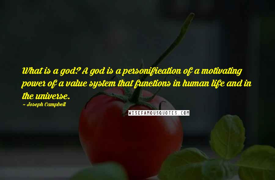 Joseph Campbell quotes: What is a god? A god is a personification of a motivating power of a value system that functions in human life and in the universe.