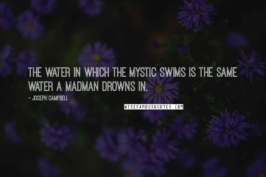 Joseph Campbell quotes: The water in which the mystic swims is the same water a madman drowns in.