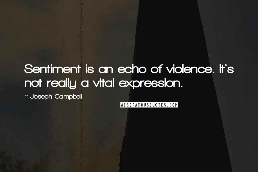 Joseph Campbell quotes: Sentiment is an echo of violence. It's not really a vital expression.