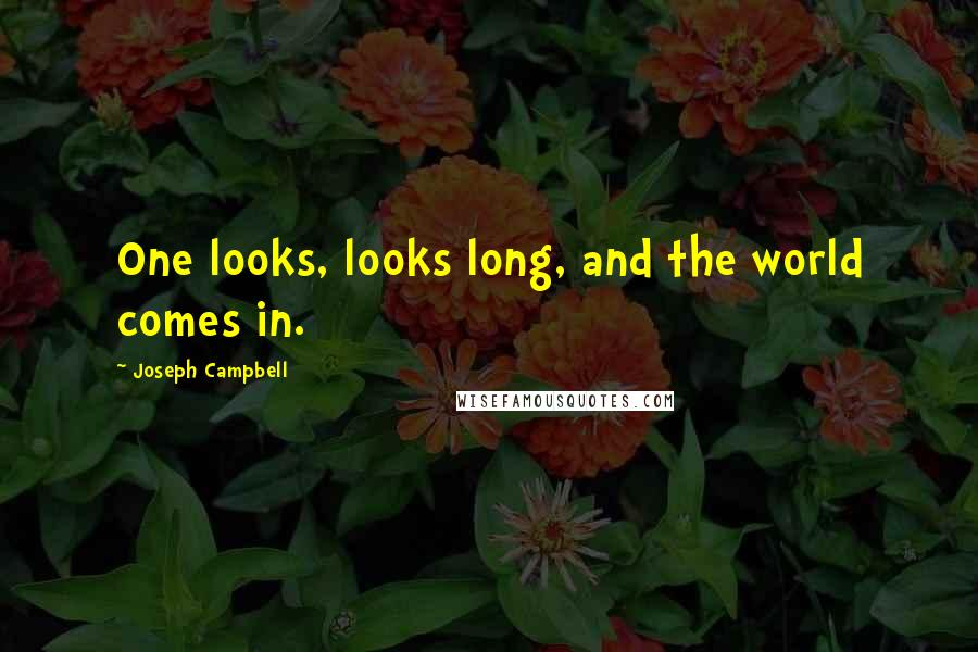 Joseph Campbell quotes: One looks, looks long, and the world comes in.