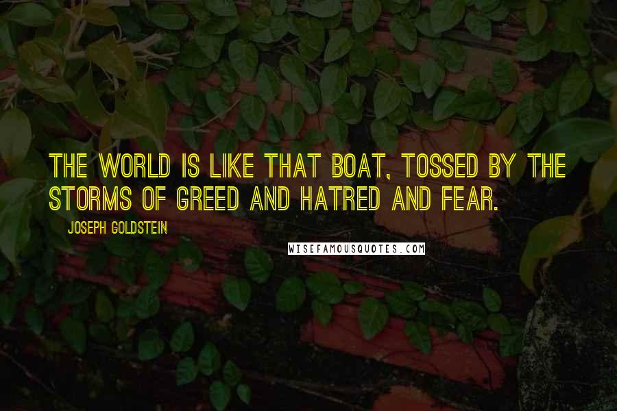 Joseph Goldstein quotes: The world is like that boat, tossed by the storms of greed and hatred and fear.