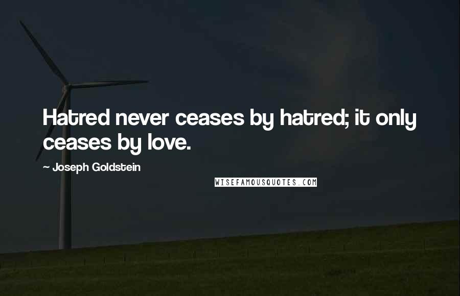 Joseph Goldstein quotes: Hatred never ceases by hatred; it only ceases by love.