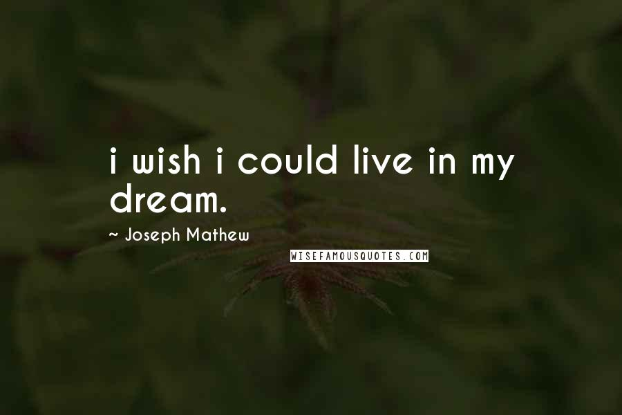 Joseph Mathew quotes: i wish i could live in my dream.