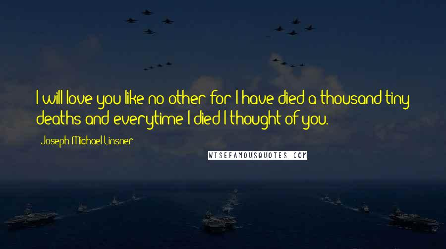 Joseph Michael Linsner quotes: I will love you like no other for I have died a thousand tiny deaths and everytime I died I thought of you.