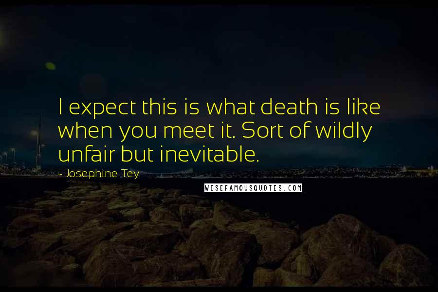 Josephine Tey quotes: I expect this is what death is like when you meet it. Sort of wildly unfair but inevitable.