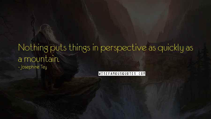 Josephine Tey quotes: Nothing puts things in perspective as quickly as a mountain.