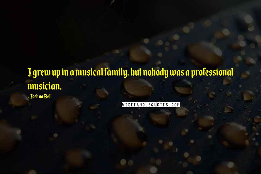 Joshua Bell quotes: I grew up in a musical family, but nobody was a professional musician.