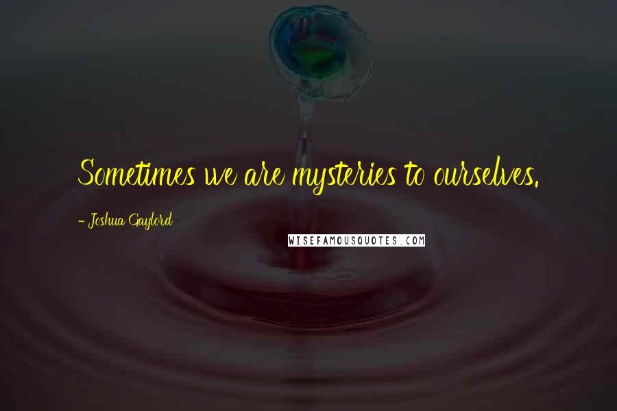 Joshua Gaylord quotes: Sometimes we are mysteries to ourselves.