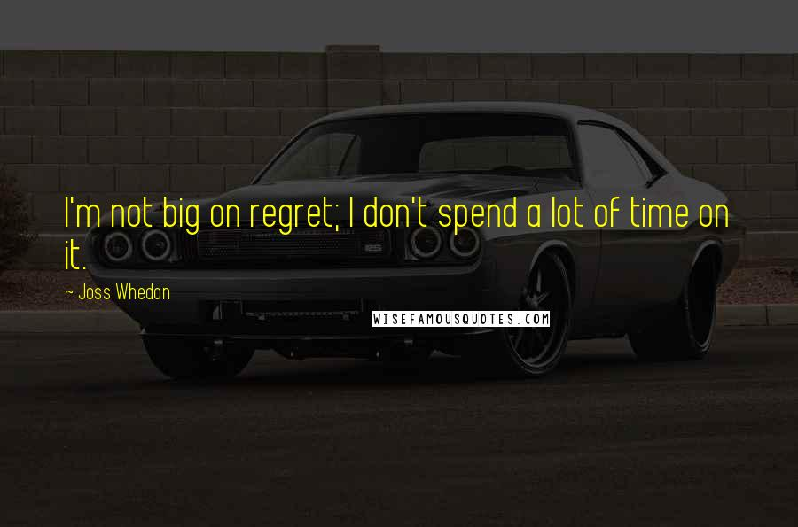 Joss Whedon quotes: I'm not big on regret; I don't spend a lot of time on it.